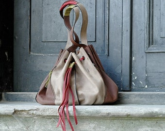 20%less-was 230 usd now is 184 usd Handmade ladybuq Marlena Beige and Brown