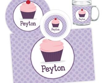 Cupcake Plate, Bowl, Mug or Placemat - Cupcake Dinnerware Set - Personalized Plate for Kids - Children Plates - Kids Melamine Tableware
