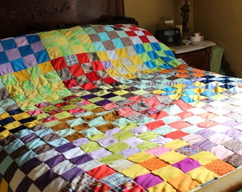 """Large Antique Vintage Handmade Patchwork  Country Chic Quilt 82"""" X 90"""""""