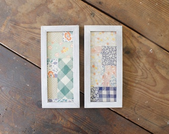 Antique Framed Quilt Feed Sack Pieced Rustic Quilt Art White Washed Frames Rustic Textile Quilt Wall Hangings