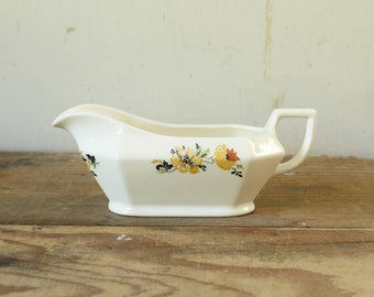 Homer Laughlin Gravy Boat Syrup Cream Pitcher Vintage Creamy White China Orange Yellow Floral