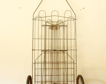 Vintage Folding Wire Grocery Cart with Wheels Laundry Room Decor Hamper Storage Display
