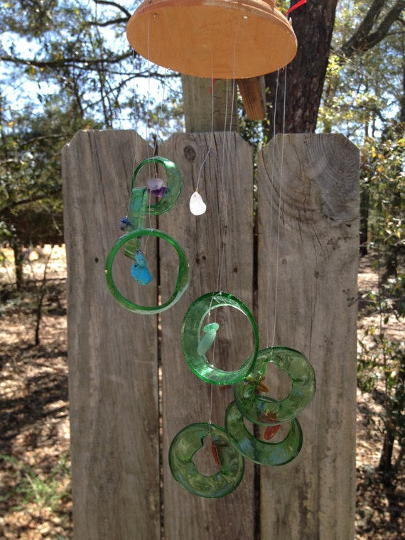 CHAKRA BOTTLE WINDCHIME, chakra windchimes, metaphysical wind chime, semi-precious stones, 7 Chakra series, garden decor