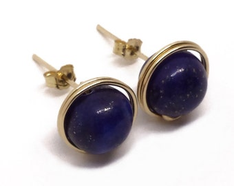 Gold Lapis Lazuli stud earrings