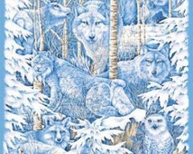 Forest Animals, Wolves, Wolf Fabric, Wolves Fabric, Owl Fabric, Mid Winter Dream Wall Hanging, 1 panel
