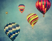 Hot Air Balloons /colorful art print /nursery decor /red blue and yellow