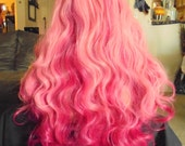 SPRING SALE - Ombre Bubble Gum Pink on Pink Wig - Long Curly Hair Piece - Approx. 36 Inches - Emo - Rockabilly - Cosplay - Priority Mail