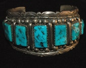 Beautiful Elaborate Vintage Navajo Kingman Turquoise Wide Sterling Bracelet 84 Grams