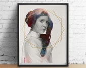 Cosmic PRINCESS LEIA Star Wars Print, Gold Foil Sacred Geometry Print, Watercolor Galaxy Astronomy Poster,  Star Wars Gifts, Wall Art GICLEE