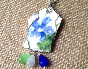 Broken China Necklace, Blue Green,Broken Pottery  Pendant wire Wrapped with chain