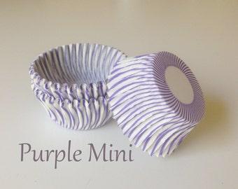MINI Purple Stripe Cupcake Liners (100)