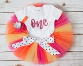 Summer birthday outfit 'Becky' pink orange yellow summer first birthday tutu outfit girl pink orange cake smash sunshine birthday outfit