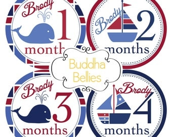 PERSONALIZED Nautical Baby Boy Monthly Stickers - Sailboats - Whales Month Baby Stickers  - Nautical Nursery - Monthly Baby Stickers BP119
