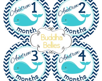 PERSONALIZED Nautical Month Stickers - Navy Teal Whale Monthly Stickers - Gender Neutral Baby Gift - Baby Decals - Month Baby Stickers
