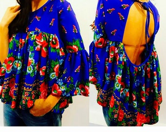 Royal Blue Blouse Russian fabric Top Summer Blouse Russian Navy Blouse  Gypsy Flower short top Harajuku Blue Blouse Japan blue top