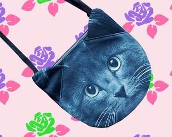Russian Blue, cross body bag, shoulder bag, cat bag, cat purse, kitty bag, cat lovers, cat portrait, SB-274