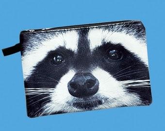 Raccoon pouch, racoon purse, racoon clutch, bear purse, bear clutch, bear lover pouch, bear makeup bag, PRA-230