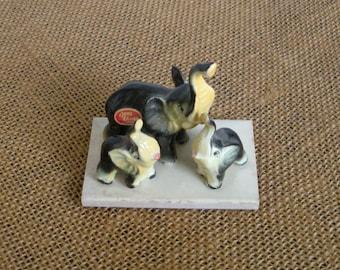 Vintage Bone China Gray Elephant Figurines 1960s Japan