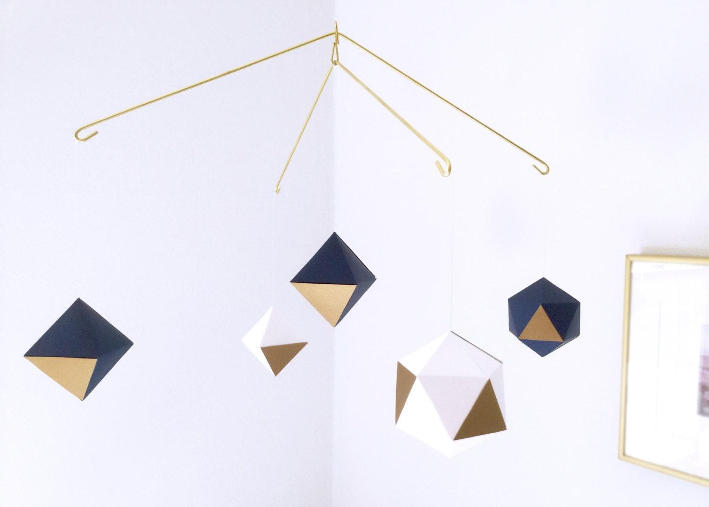Custom gold geometric mobile baby mobile nursery mobile - Designer babymobel ...