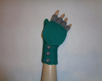 Hand-knitted aqua green color women convertible fingerless gloves/wrist warmers to mittens with buttons