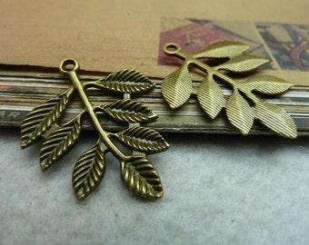 30pcs 28*34mm antique bronze leaf charms pendant C7173