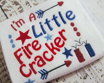 July 4th firecracker machine embroidery design, Patriotic July 4th embroidery design, July 4th Firecracker machine embroidery