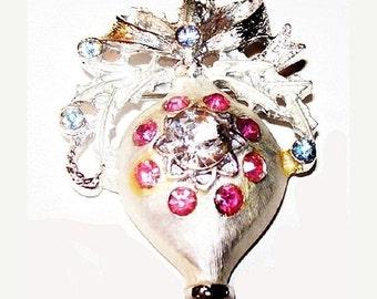 "Ornament Brooch Pin Pink Blue Ice Rhinestones Silver Metal 2"" Holiday CIJ Vintage"