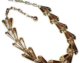"""CORO Necklace Gold Metal Etched Necklace Metallic Choker 15.5"""" Vintage 1950s"""