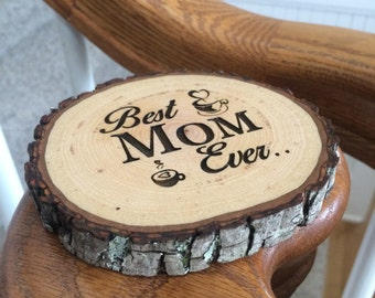 Custom Wood Coaster, Engraved Coaster, Mom Birthday Gift, Wood Slice Coaster, Personalized Coaster, Mother Birthday Gift, Coffee Coaster