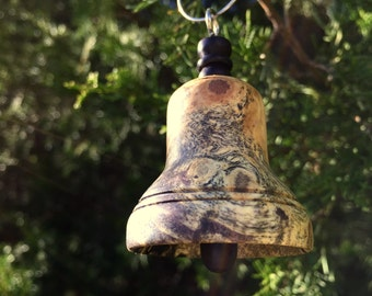 Wooden Bell Ornament- Spalted Buckeye Burl and African Blackwood
