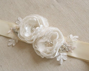 Ivory Bridal Flower Sash, Wedding Sash, Ivory Ribbon Sash Belt, Wedding Dress Sash, Floral Sash, Embroidered Lace Sash, Pearls, Rhinestones
