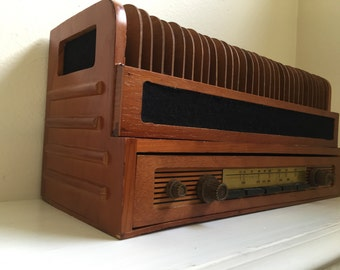 Vintage Wooden Desktop Bill Mail Sorter Holder Organizer