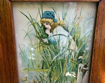 "Antique Oak Framed Print ""Little Buttercups"" Child Girl"