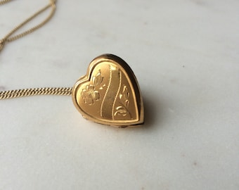 Locket necklace / 1930s Vintage gold heart locket / Floral and Geometric etched 10K GF / Bliss Bros. / THE Mabel