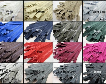 Plastic Open End / Separating Zipper /  No 5 Chain (5mm Teeth) Available in 16 Colours / 11 Sizes