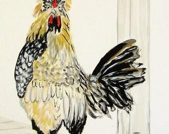 Chicken - Art print of Original Watercolor Painting - 8x10 Kitchen Art