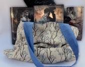 Tree branch and leaf print book bag, shoulder bag, summer beach tote bag, colorful book bag, nature tote bag, yarn bag, market bag, blue bag
