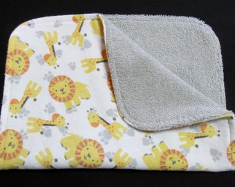 Giraffe and Lion Burp Cloth, Baby Burp Cloth, Gray Terry Cloth, Flannel Burp Cloth