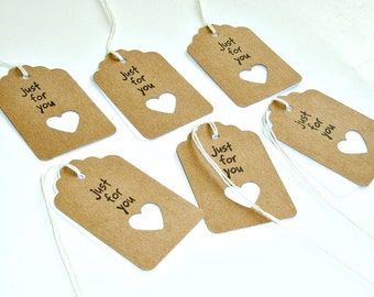 just for you mini gift tags, 1 dozen handmade merchandise tags in kraft, product tags, favor tags, packaging gift tags