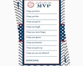 Baseball Wishes for Baby Game-  Instant Download Boys Activity -- Baby Shower Game Card -- Grey Chevron - Printable Keepsake - Advice Baby