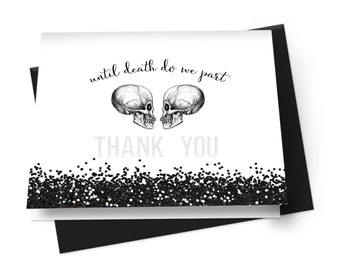 Skull Wedding Stationery Set -- Folded -- Fill In -- Gothic -- Bridal Shower -- Personalized -- Paper Cards -- Printing