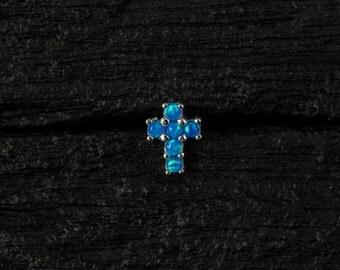 Skyblue opal Cross push in 16gauge bio flexible Tragus / lip labret / cartilage/ helix piercing