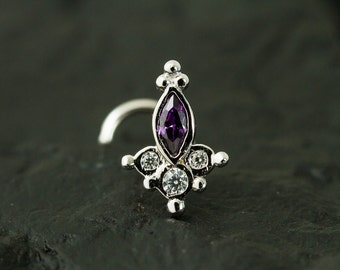Cluster Marquise Amethyst CZ diamond nose stud / nose screw / nose ring
