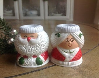 Vintage Hallmark Cards Inc. Mr. and Mrs. Claus Candle Holders