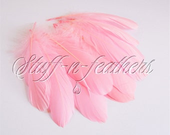 Baby Pink GOOSE feathers pallets, loose light pink feathers for millinery, crafts, decoration, real feather 5-8in (12.5-20cm), 12 pcs / F196
