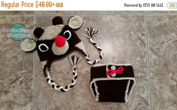 SALE Baby Rudolph Reindeer Hat & Diaper Cover Set Outfit - Newborn Beanie Boy Girl Costume Christmas  Photo Prop Cap Winter