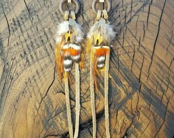 Wooden Hoop Fringe Feather Earrings