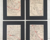Reserved for Mitch - 4 x 1950s Melbourne Suburb Maps, mounted