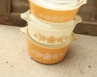 Set of Three, Pyrex Vintage Pyrex Butterfly Gold Casserole Dishes, Orange Pyrex Floral Pyrex Gold Pyrex Serving Bowls Harvest,