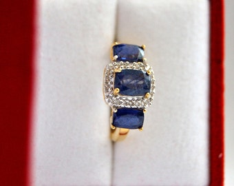ArtDeco 3 Natural Sapphire Engagement Ring, Blue saphire Ring, Vintage Promise Ring, 2.75 ctw saphires, Wedding Ring, Bague, Luxury Gifts